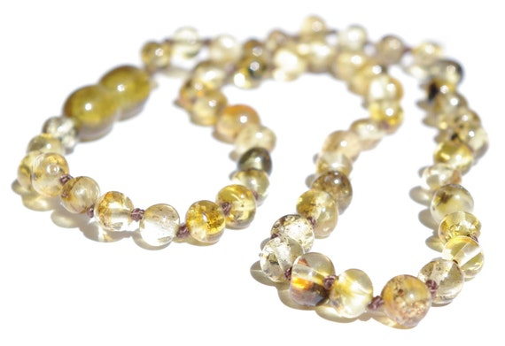 "Baltic Amber Baby Teething Necklace. ""Green"" rounded amber beads."