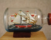 Sweetheart - vintage sailing ship in a bottle - miniature collectible