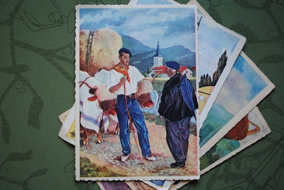 Set of  4 vintage French postcards from the Basque region