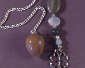 Agate and 4-Leaf Clover Gemstone New Age Dowsing Pendulum Magick 124881P