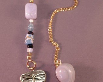 Agate and Dragonfly New Age Dowsing Pendulum 124857P
