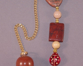 Red Jasper and Lucky Elephant New Age Dowsing Pendulum 113960P