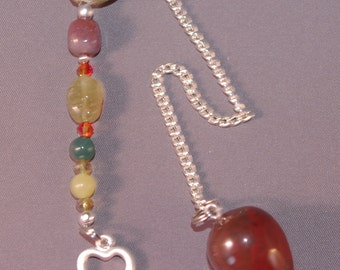 Red Jasper and Shamrock Gemstone New Age Dowsing Pendulum Magick 124843P
