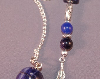 Sodalite and Feather Gemstone New Age Dowsing Pendulum Magick 124827P