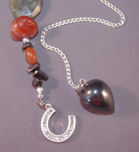 Hematite and Lucky Horse Shoe New Age Dowsing Pendulum 124882P