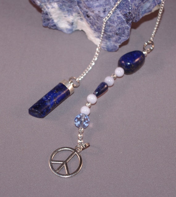 Lapis Lazuli and Peace Sign Dowsing Pendulum New Age Magick 124955P