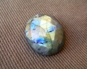Faceted Labradorite Oval Cabochon - AAA rainbow Flashy Fire
