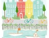 Amsterdam Art Print - 11x14 - children city poster illustration wall decor