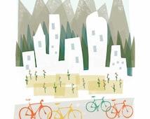 Denver art print illustration - 8x10 - mountain city buildings poster wall decor