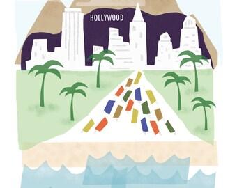 Los Angeles art print - 8x10 - LA California CA downtown skyline city poster wall decor