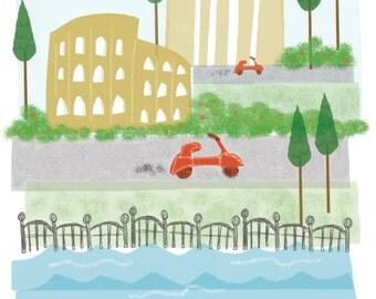 Rome, Italy - 11x14 - city art illustration