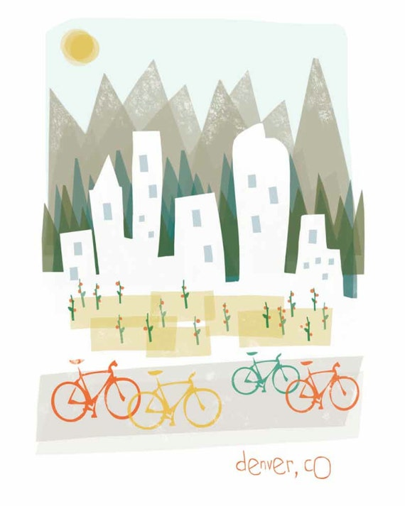 Denver art print illustration - 8x10 - mountain city buildings poster wall decor