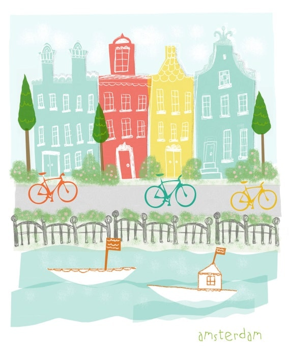 Amsterdam Art Print - 11x14 - children city poster illustration wall decor