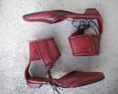 Diesel Style Lab Original  Shoes Vintage Sandals Red Leather  Women  sz. 39/9/6