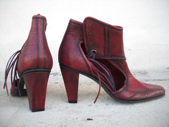 Diesel Style Lab Original  Shoes Vintage Boots Red Leather  Women  sz. 39/9/6