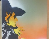 "Wicked Witch of the West - Pop Art Spray Paint Stencil - 11"" x 14"" on Canvas (green, orange, white)"