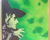 """Wicked Witch of the West - Pop Art Spray Paint Stencil - 11"""" x 14"""" on Canvas (green, black)"""