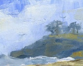 Ocean Beach Scene- Blue Sky and Birds- Oil Painting-  ACEO ATC Art Card PRINT