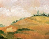 Golden Fields and Evergreen Pine Trees - Oil Painting- ACEO ATC Art Card PRINT