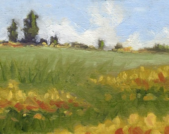 Yellow Summer Flowers in a Field- Oil Painting- ACEO ATC Art Card PRINT