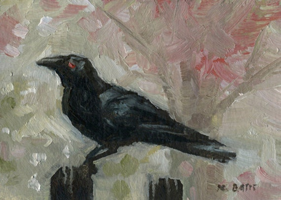 Black Crow on Fence with Red Pink Tree Branches- Original Oil Painting- ACEO ATC Art Card
