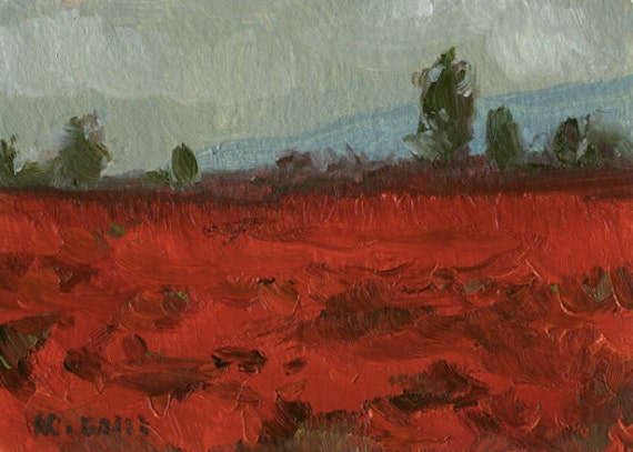 Poppy Field Landscape with Mountains and Large Green Trees, Stormy Sky- Original Oil Painting- ACEO ATC Art Card