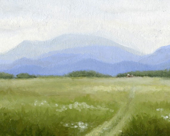 Fine Art Print-  Open Meadow with Mountains- Oil Painting- 11X14 Art Print
