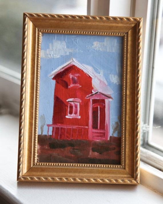 Red House Study- Original Oil Painting on Board- 4X6- Framed in Professional Gold Wood Frame- Sale Clearance Art