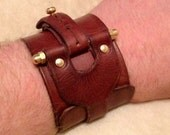 """Steampunk leather Cuff. """"The Patton Industrial protective cuff"""""""