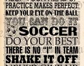 Vintage Dictionary Sports Subway Art Print - Soccer, Baseball, Football