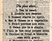 """Vintage Dictionary """"The South"""" Print"""