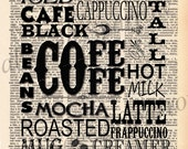 Vintage Dictionary Print Coffee Subway Art