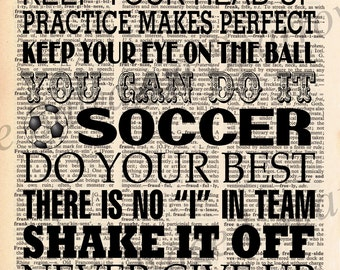 Vintage Dictionary Sports Subway Art Print - Soccer, Baseball, Football