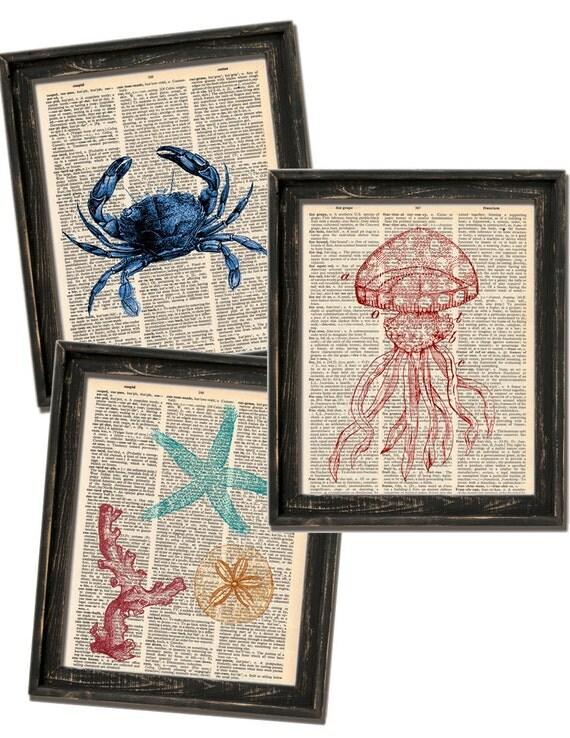 Coastal Dictionary Print Set - 3 Sea Prints