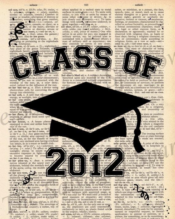 Vintage Dictionary Class of 2012 Print - Graduation - plus free 5x7 monogram