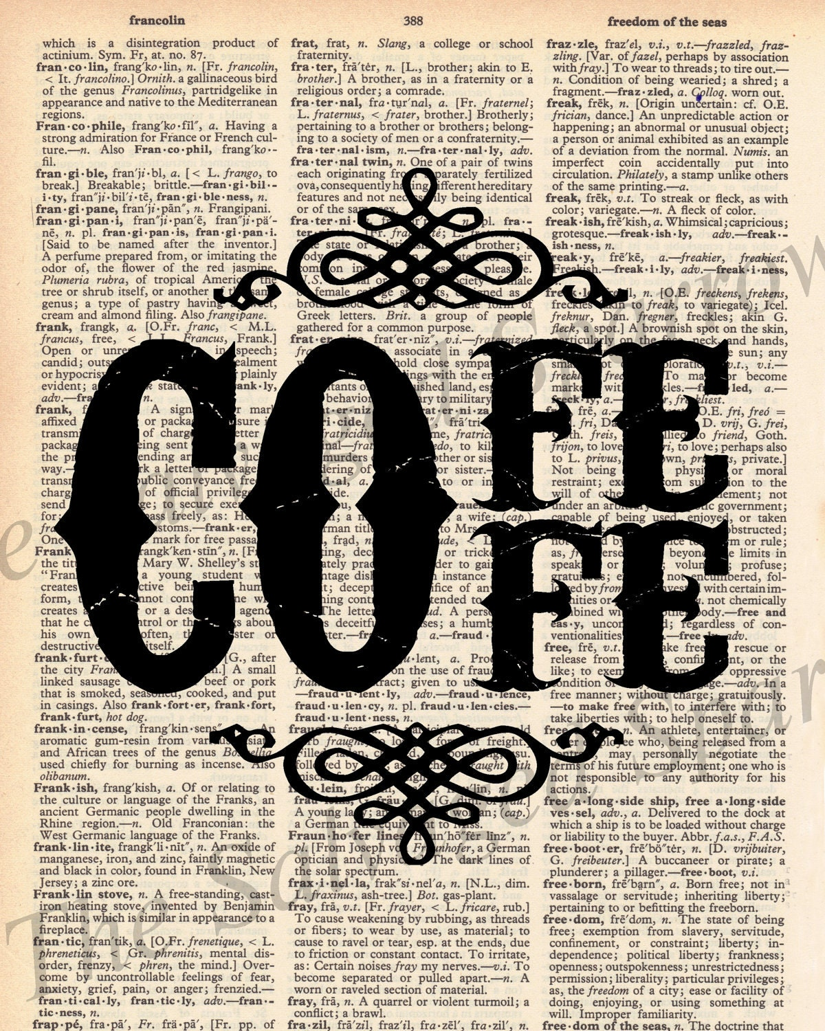 vintage dictionary coffee decor print by thesalvagedsparrow