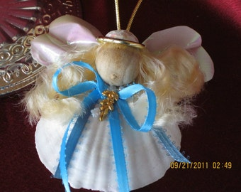 Sea shell Handcrafted Ornaments Christmas Heavenly Sea Shelled Angel ornament