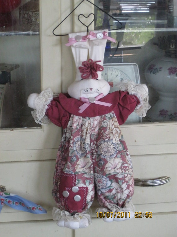 Just hanging out cloth doll Bunny muslin doll