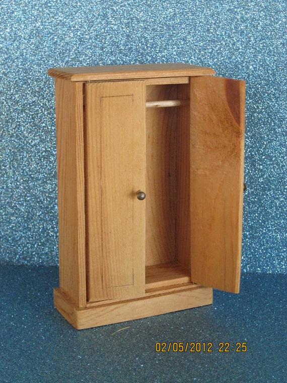 "Unfinished dollhouse bedroom armoire or wardrobe. hinged doors brass nail knobs. Measures 4 3/4"" x 3"" x 1 1/4"