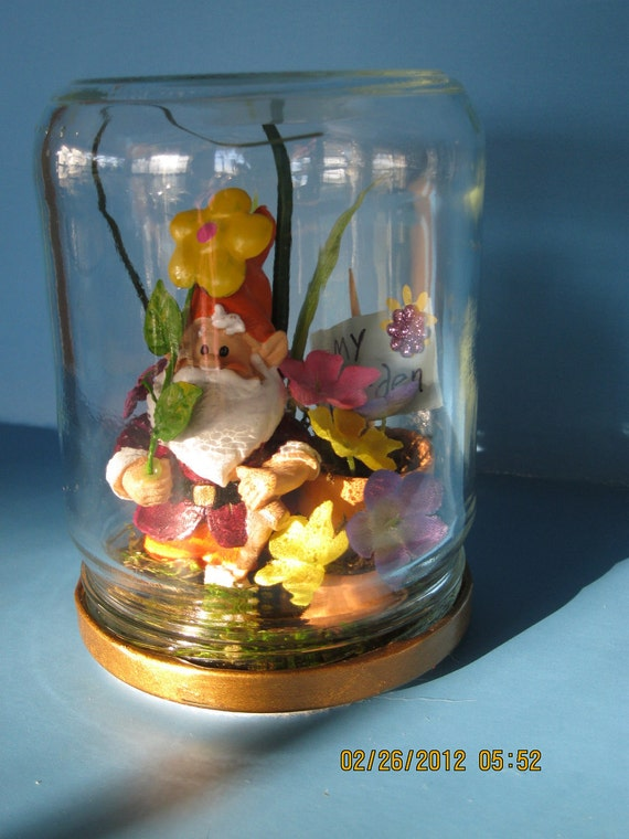 "MY Garden"",  miniature Gnome in a good luck pickle jar with posies in pots for your window sill."