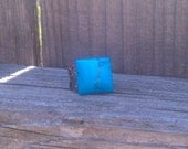 Square Turquoise Ring with Adjustable Antique Brass Band