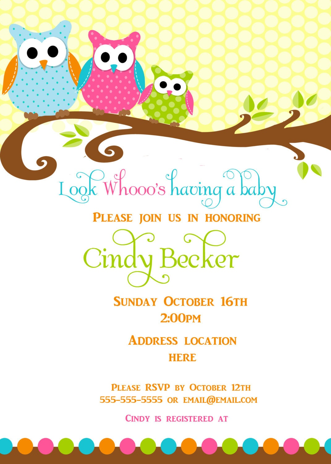 items similar to owl baby shower invitation thank you card place