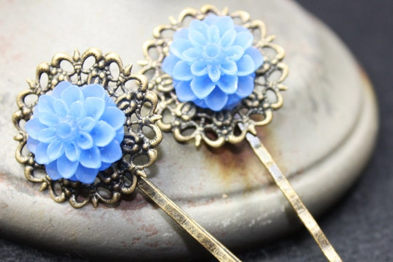 Anitque Brass Hairpins with Blue Colored Flower