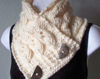 Cream Chunky Embossed Leaf Button Scarf PDF KNITTING PATTERN instant download, intermediate skill,
