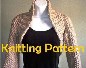 Easy Weekend Long Sleeve Shrug - PDF KNITTING PATTERN - worldwide delivery. American and British instructions available.