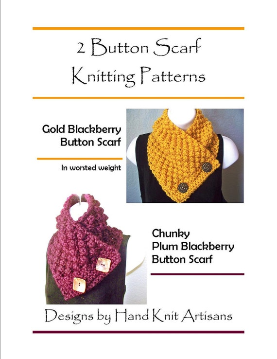 2 Button Scarf PDF Knitting Patterns Worsted by ...