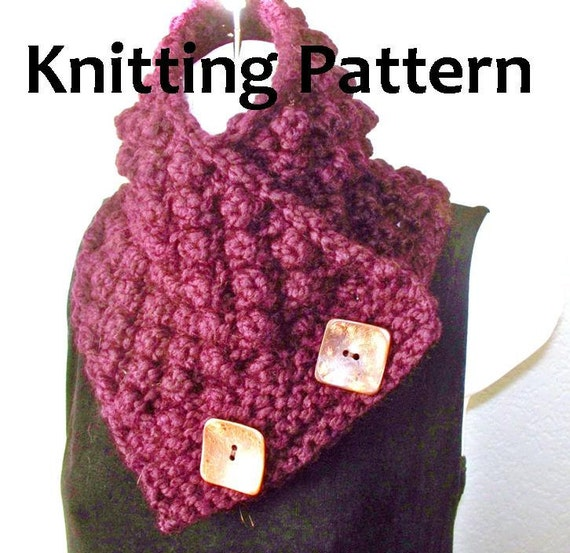 Chunky Bramble Button Scarf - PDF KNITTING PATTERN - Exp beginner level,