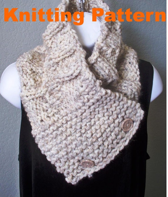 Mens Chunky Texture Button Scarf PDF by HandKnitArtisans on Etsy