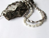 Wedding Nacklace - Pearls necklace  -  white, gray pearls - Handmade jewelry - Clasic  style
