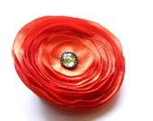 Orange Flower -  Fabric Flower Brooch - Flower Satin - Orange Brooch